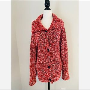 Evan-Picone Red Speckles Buttonup Cardigan Size 1X